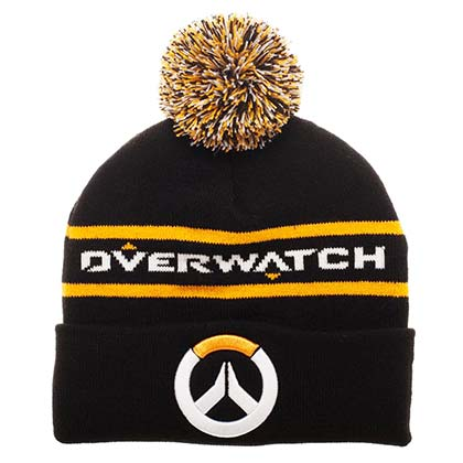Overwatch Logo Black Winter Pom Beanie