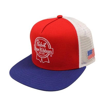 PBR American Flag Red Snapback Hat
