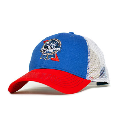 3d11f391860 Pabst Blue Ribbon Embroidered Mesh Trucker Hat