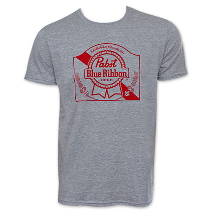 Pabst Blue Ribbon Grey Logo T-Shirt