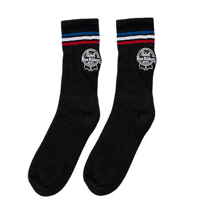 Pabst Blue Ribbon Men's Black Crew Socks