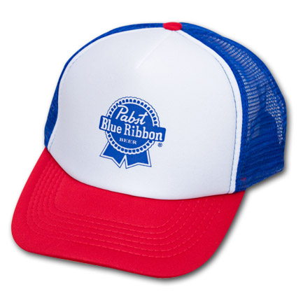Pabst Blue Ribbon PBR Trucker Hat Red, White and Blue
