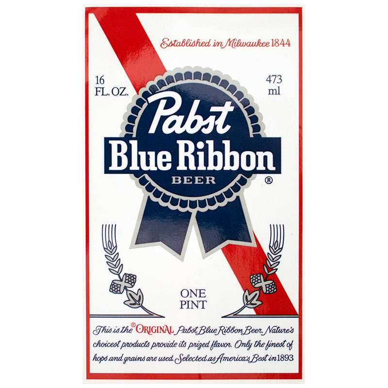Pabst Blue Ribbon Bottle Label Sticker