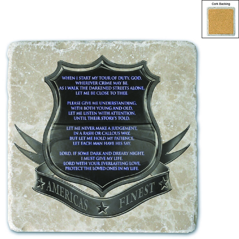 Policeman's Prayer Stone Coaster