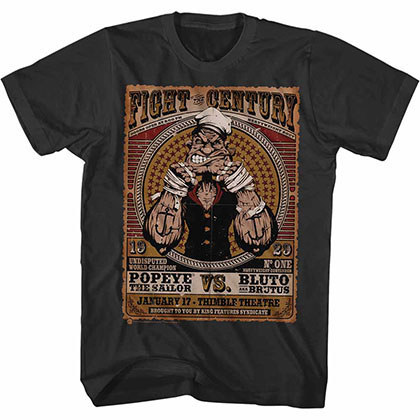 Popeye Fight Of The Century Black Tee Shirt