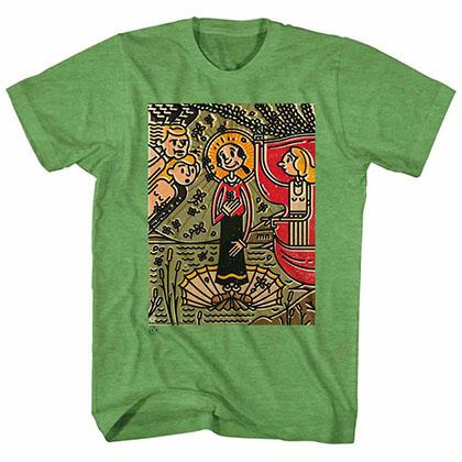 Popeye Mosaic Olive Kelly Tee Shirt
