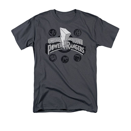 Power Rangers Power Coins Gray Tee Shirt