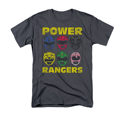 Power Rangers Men's Gray Heads T-Shirt