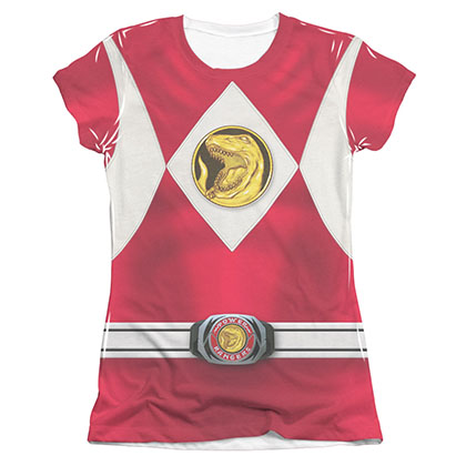 Power Rangers Juniors Red Sublimation Emblem Costume Tee Shirt