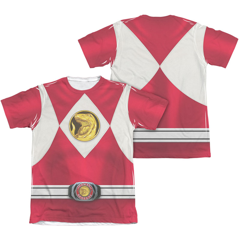 Power Rangers Emblem Costume Red Sublimation T-Shirt