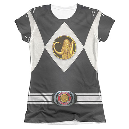 Power Rangers Emblem Costume Black Sublimation Juniors T-Shirt