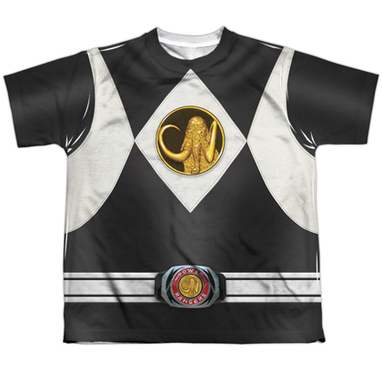 Power Rangers Black Ranger Emblem Youth Costume Tee