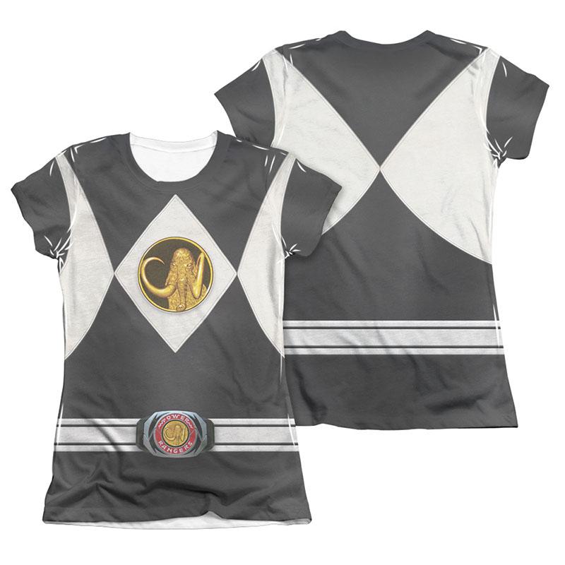 Power Rangers Emblem Costume Black Sublimation Juniors T-Shirt