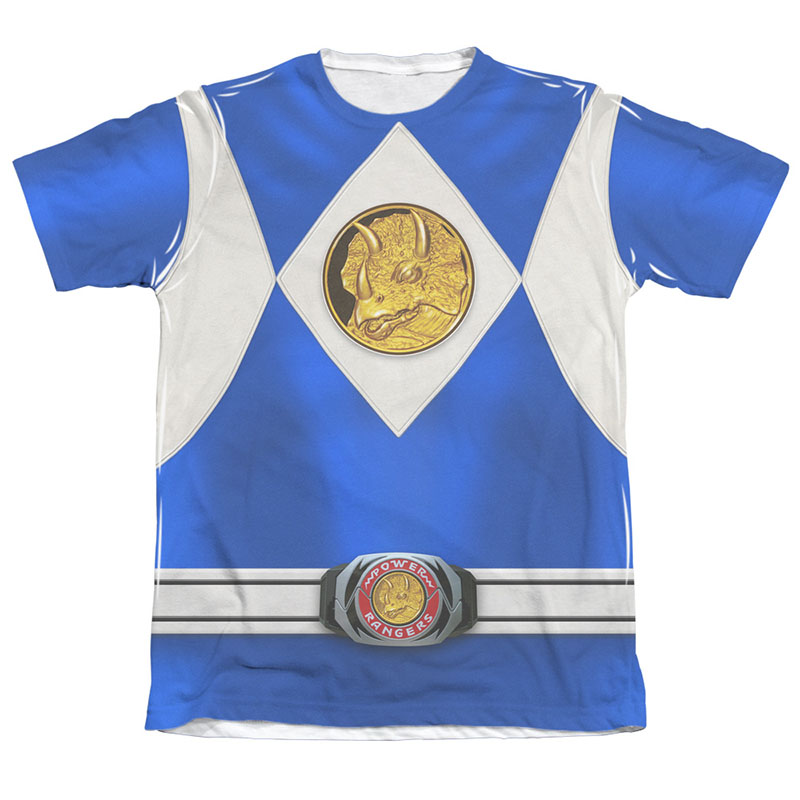 Power Rangers Blue Ranger Front and Back Print Costume Tee