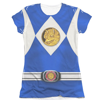 Power Rangers Emblem Costume Blue Sublimation Juniors T-Shirt