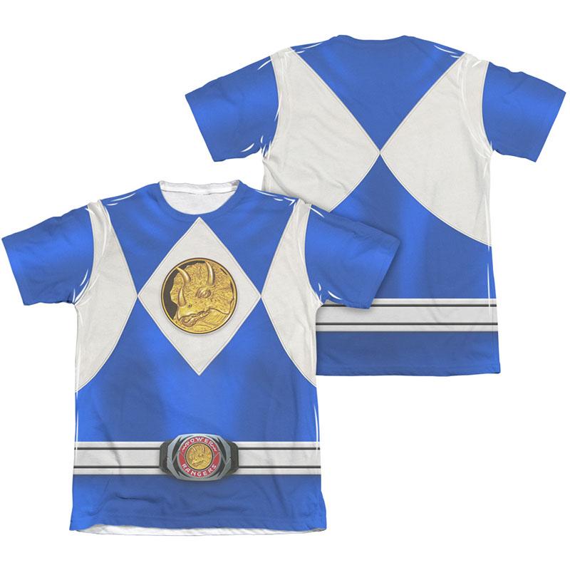 Power Rangers Emblem Costume Blue Sublimation T-Shirt