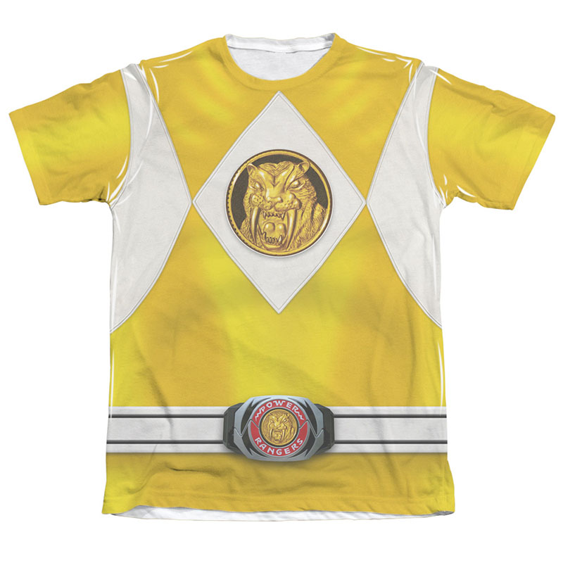 Power Rangers Yellow Ranger Front and Back Print Costume Tee
