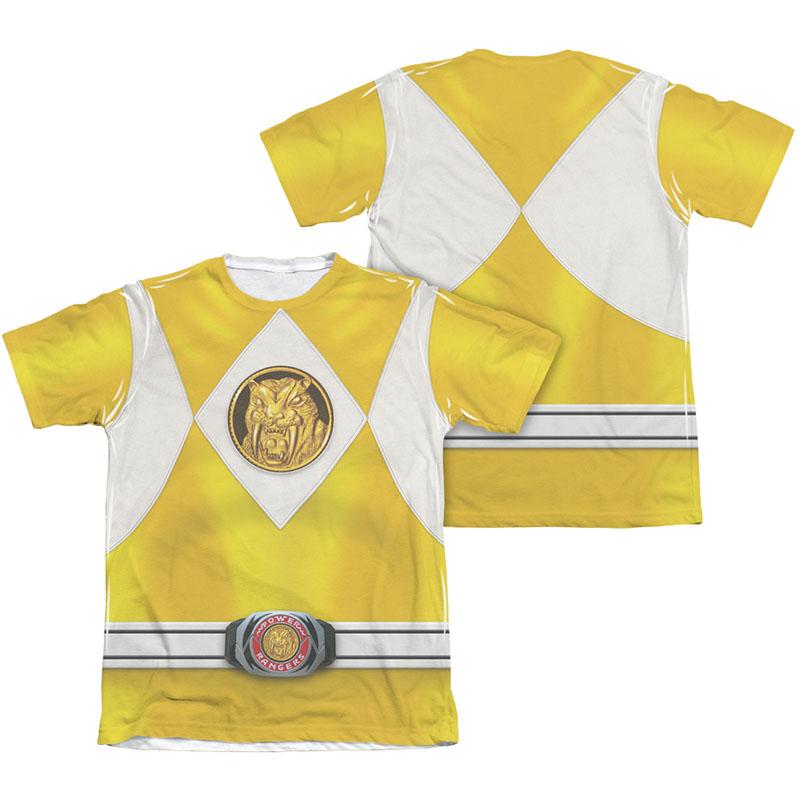 Power Rangers Emblem Costume Yellow Sublimation T-Shirt