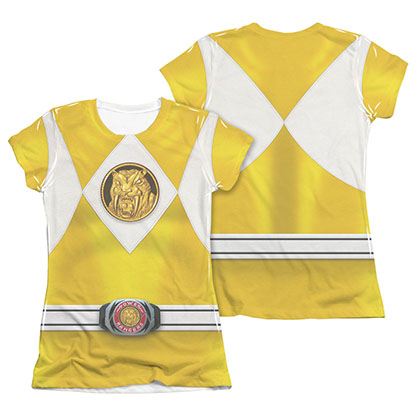 Power Rangers Emblem Costume Yellow Sublimation Juniors T-Shirt