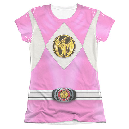 Power Rangers Emblem Costume Pink Sublimation Juniors Tee Shirt