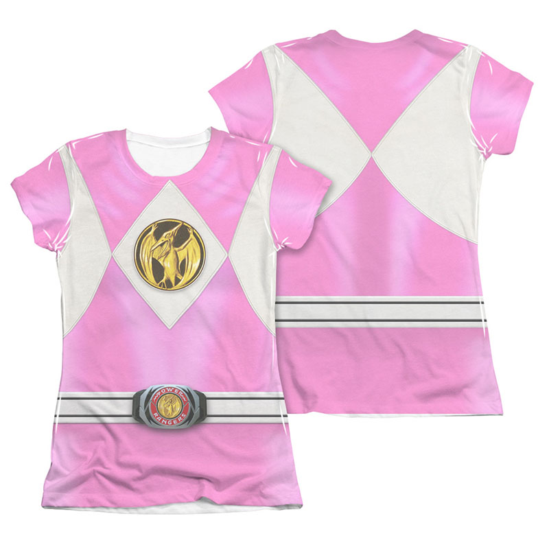 Power Rangers Emblem Costume Pink 2-Sided Sublimation Juniors Tee Shirt