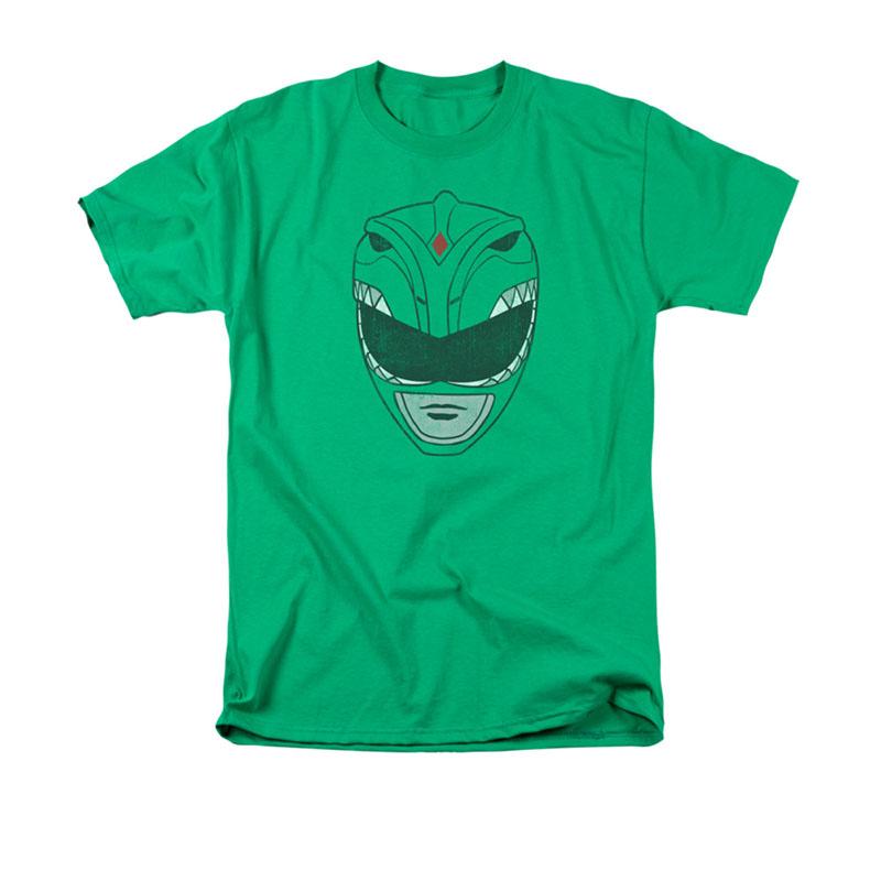 Power Rangers Men's Green Helmet Tee Shirt