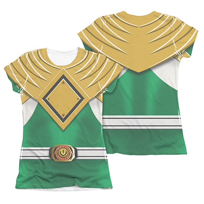 Power Rangers Juniors Green Sublimation Emblem Costume Tee Shirt