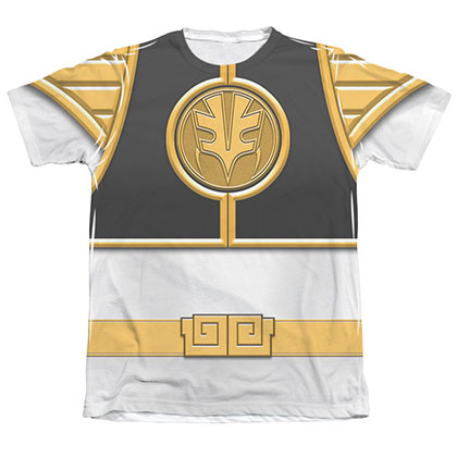 Power Rangers Emblem Costume White Sublimation T-Shirt