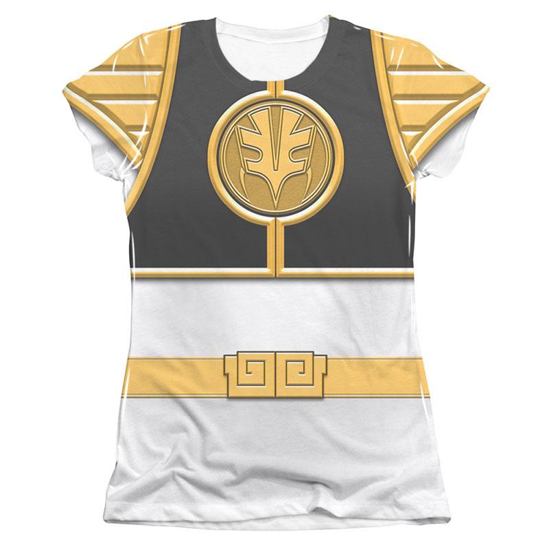 Power Rangers Emblem Costume White Sublimation Juniors T-Shirt