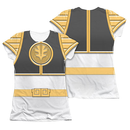 Power Rangers Emblem Costume White Sublimation Juniors T-Shirt