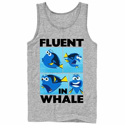 Disney Pixar Finding Dory Whale Talk Gray Tank Top