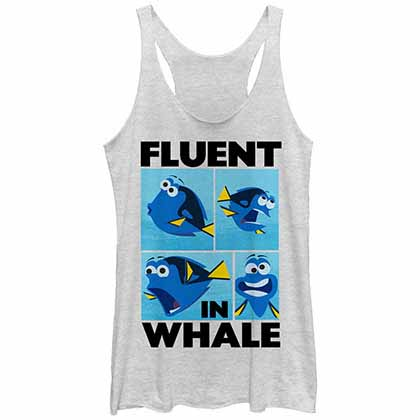 Disney Pixar Finding Dory Whale Talk White  Juniors Tank Top