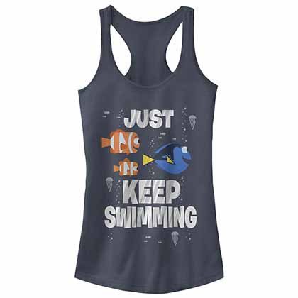 Disney Pixar Finding Dory Just Swimming Blue Juniors Tank Top