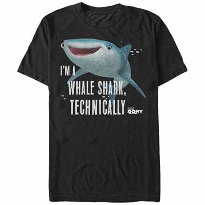 Disney Pixar Finding Dory Whale Shark Black T-Shirt