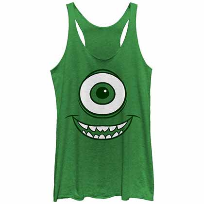 Disney Pixar Monsters Inc Mike Face Green Juniors Tank Top