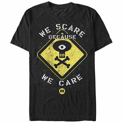 Disney Pixar Monsters Inc Warning Black T-Shirt