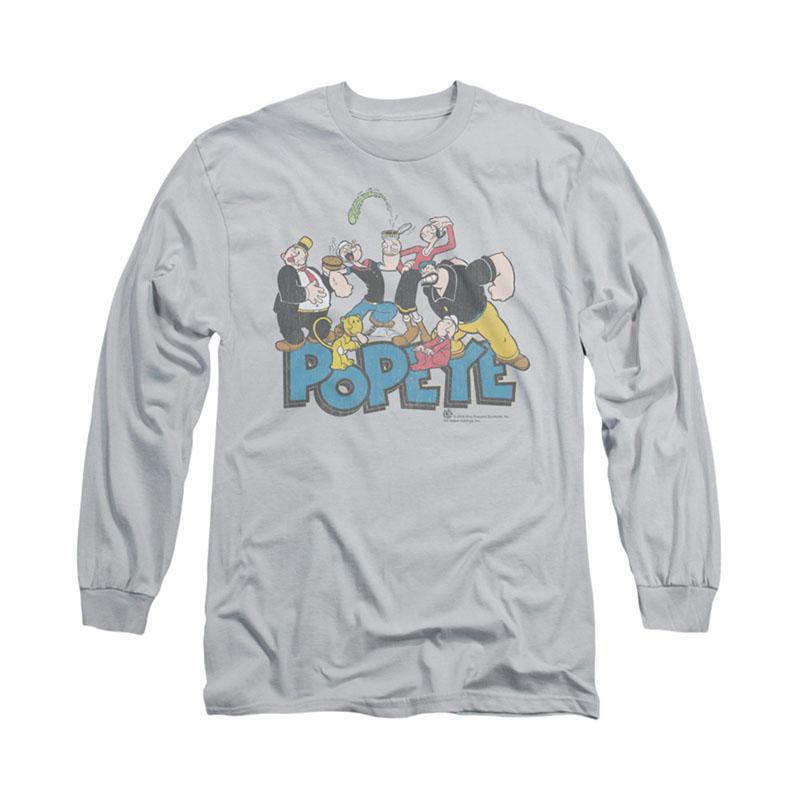 Popeye The Gang Gray Long Sleeve T-Shirt