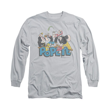 Popeye The Gang Gray Long Sleeve T-Shirt