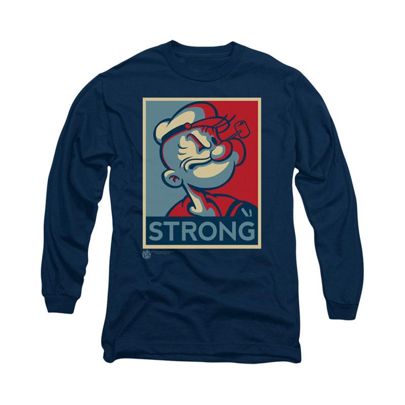 Popeye Strong Poster Blue Long Sleeve T-Shirt