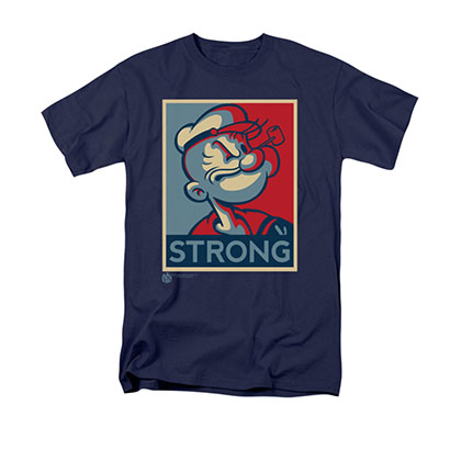 Popeye Strong Poster Navy Blue T-Shirt