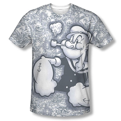 Popeye Tattooed Sailor Sublimation T-Shirt