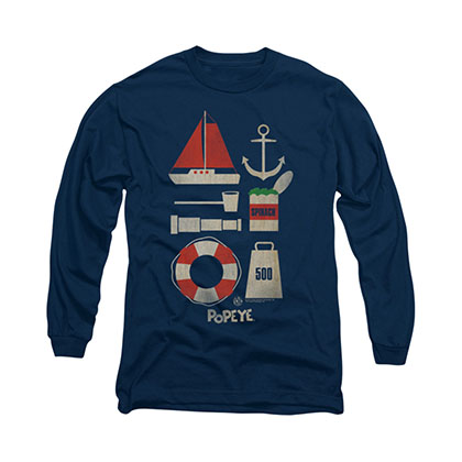 Popeye Items Blue Long Sleeve T-Shirt