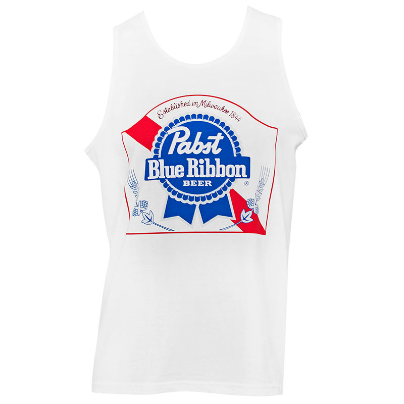 Pabst Blue Ribbon Men's White Beer Logo Tank Top