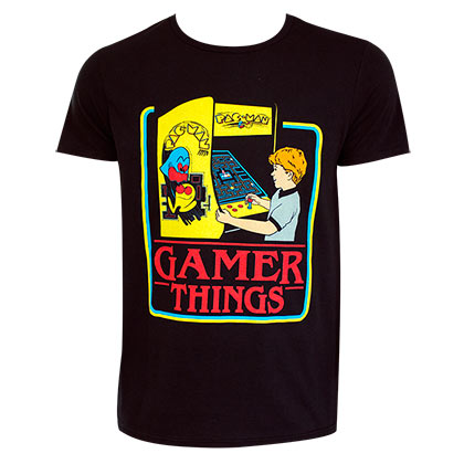 Pac-Man Gamer Things Black Tee Shirt