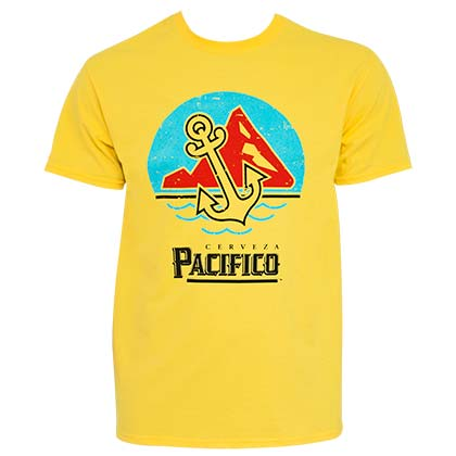 Pacifico Cerveza Anchor Scene Men's Yellow TShirt
