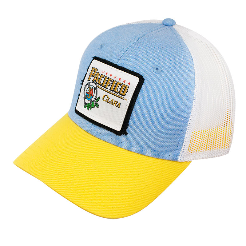 Pacifico Blue And Yellow Mesh Trucker Hat