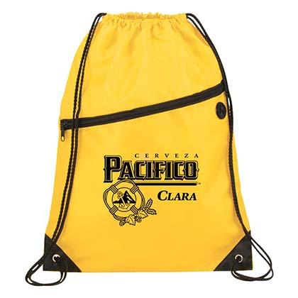 Pacifico Clara Beer Logo Drawstring Yellow Bag