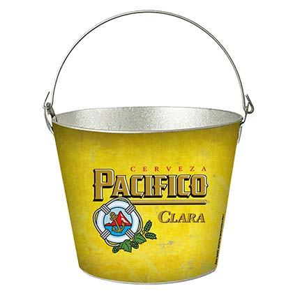 Pacifico Logo Yellow Beer Cooler Metal Ice Bucket