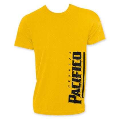 Pacifico Beer Logo Men's Yellow Tee Shirt