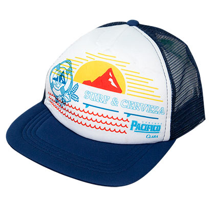 Pacifico Navy Blue Surf & Cerveza Trucker Hat